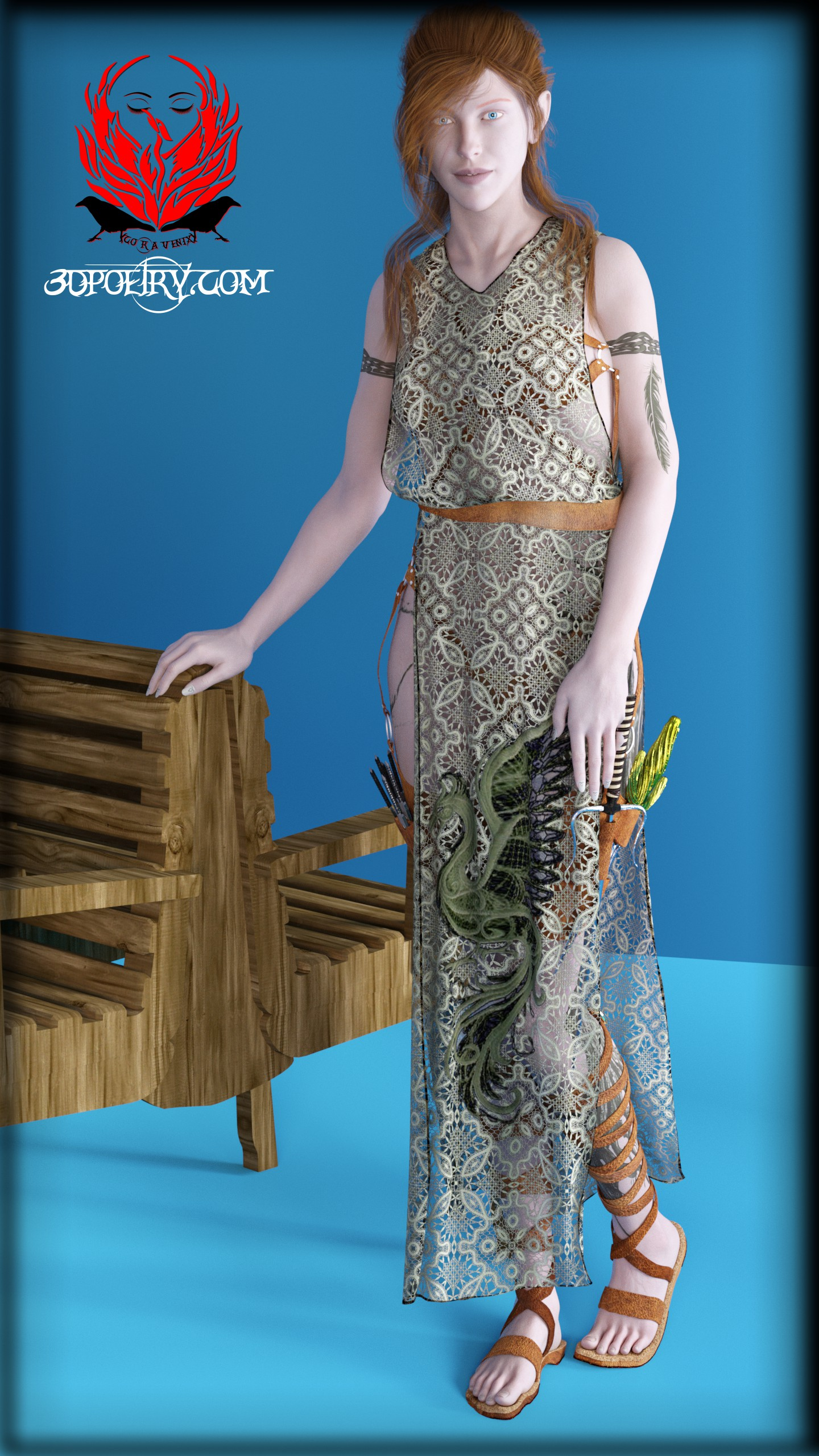 Hi Folks, Many thanks to my wife, Cora has a new outfit with tunic.  Currently displaying a rough material set.